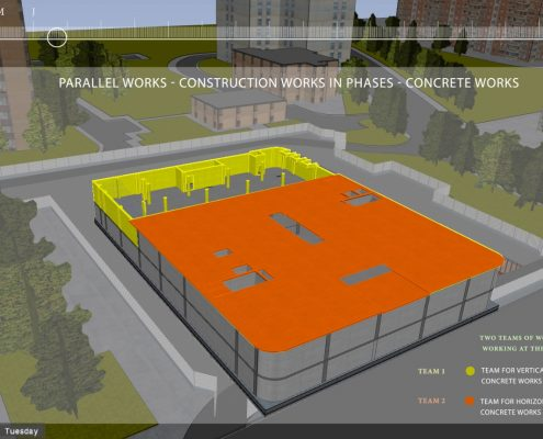 4D BIM Construction simulation generated from 4D construction schedule