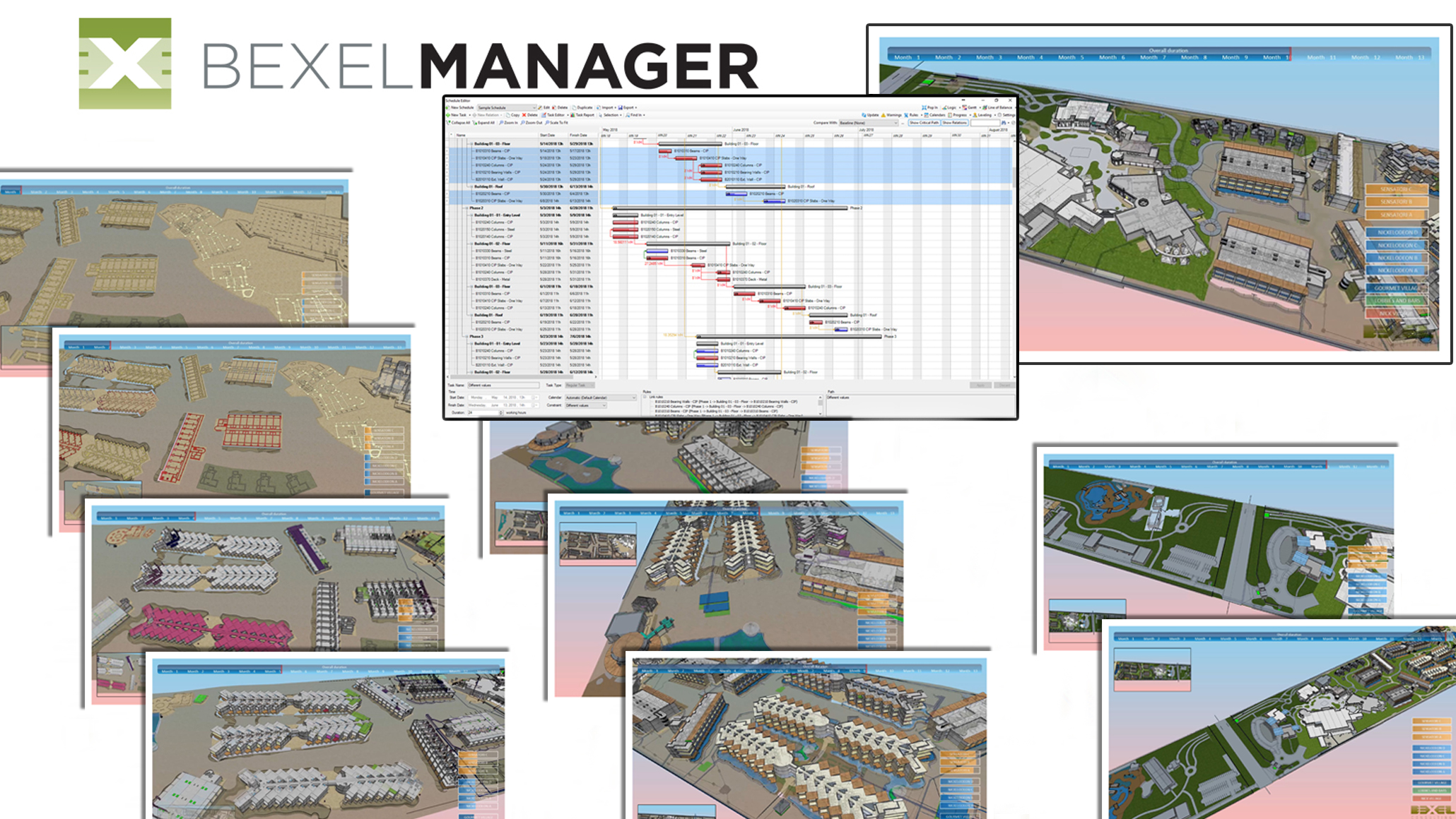 4D BIM - Progress tracking in Bexel Manager Software.