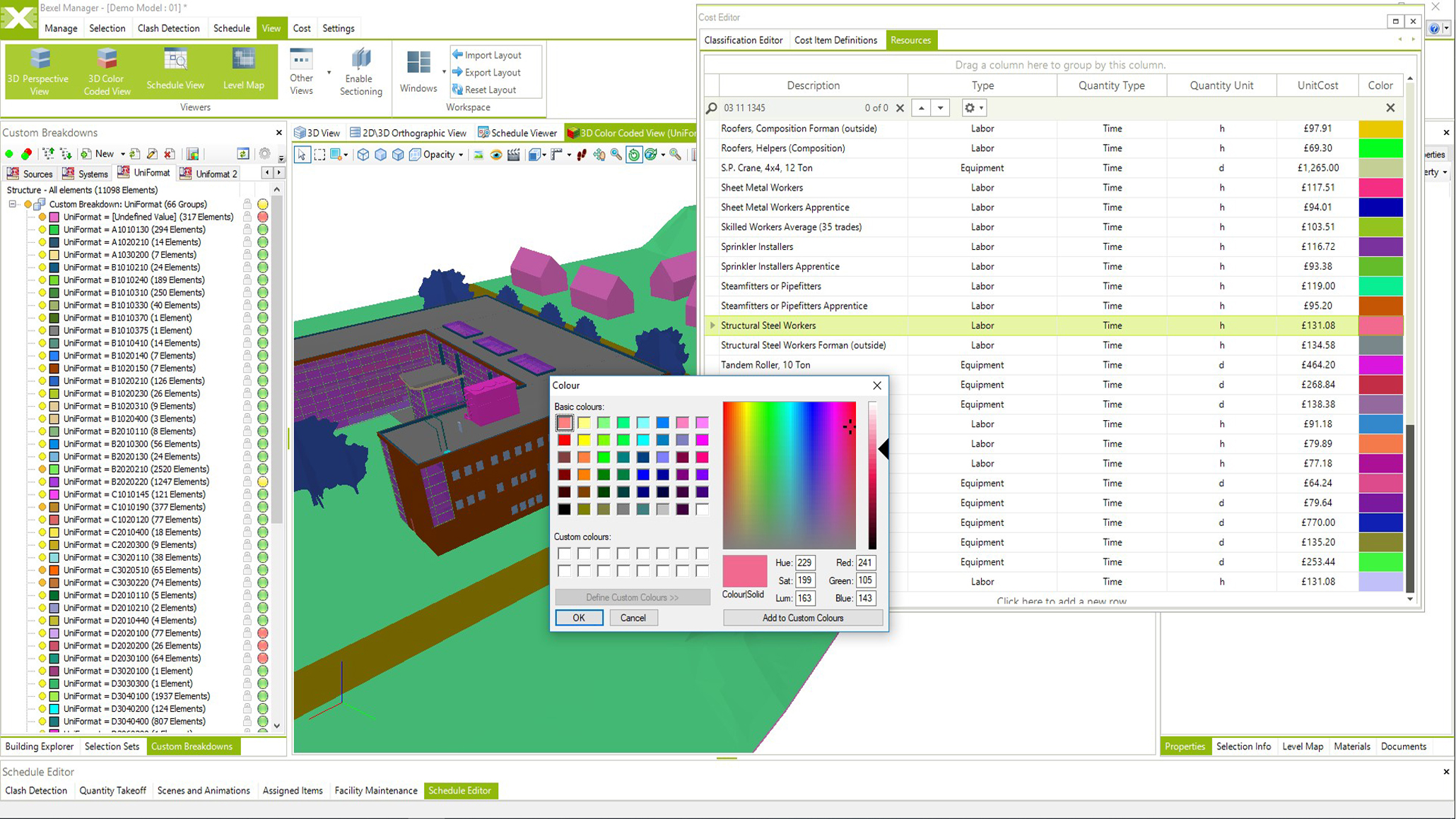 5D BIM Schedule color schemes, Visualize construction sequences using custom color schemes for elements, tasks and resources.