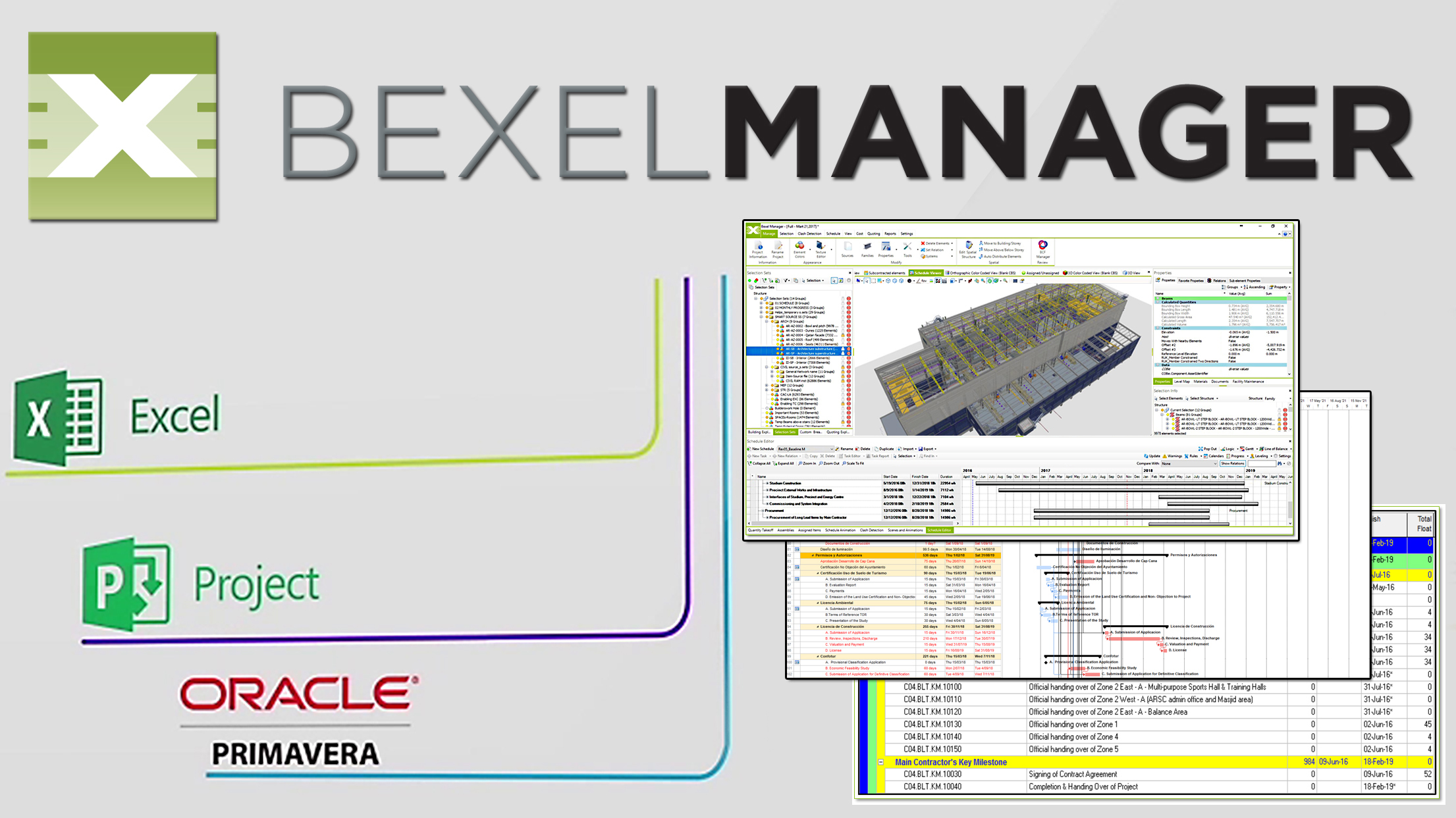 Import/export multiple schedules from various sources (e.g. Oracle Primavera®, Microsoft Project®) to Bexel Manager Software.